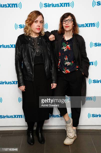 Musicians from SleaterKinney Corin Tucker and Carrie Brownstein visit the SiriusXM Studios on June 20 2019 in New York City