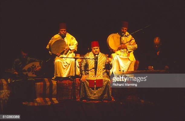 Musicians from the Al Kindi Ensemble Mevlevi Sufis from Damascus in Syria performing at the South Bank Centre in London Mevlevi Sufis also known as...