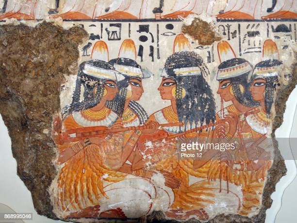 Musicians from the top two registers of the banquet scene 18th Dynasty from the tomb of Nebamun 13501370 BC