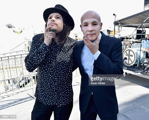 Musicians Fussible and Bostich of Bostich Fussible perform onstage during day 2 of the 2015 Coachella Valley Music Arts Festival at the Empire Polo...