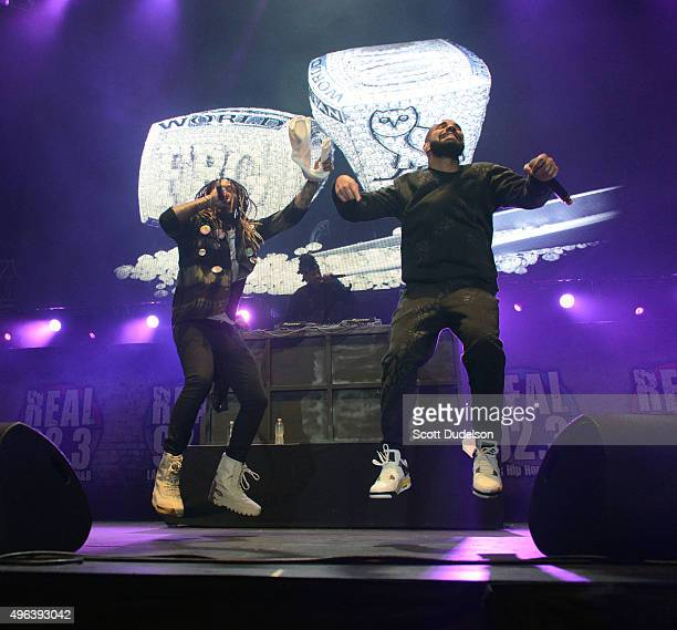 Musicians Future and Drake perform onstage during REAL 923's 'The Real Show at The Forum on November 8 2015 in Inglewood California