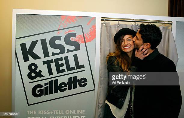 "Musicians Gabrielle Wortman and Jason Rosen attend Day 1 of Gillette Ask Couples at Sundance to ""Kiss & Tell"" if They Prefer Stubble or Smooth Shaven..."