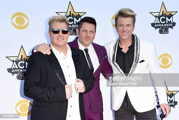 Musicians Gary LeVox Jay DeMarcus and Joe Don Rooney of Rascal Flatts attend the 50th Academy of Country Music Awards at ATT Stadium on April 19 2015...