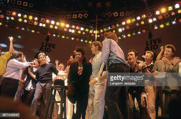 Musicians gather on stage during the Live Aid concert held in London The 1985 concert was held simultaneously at JFK Stadium in Philadelphia and at...