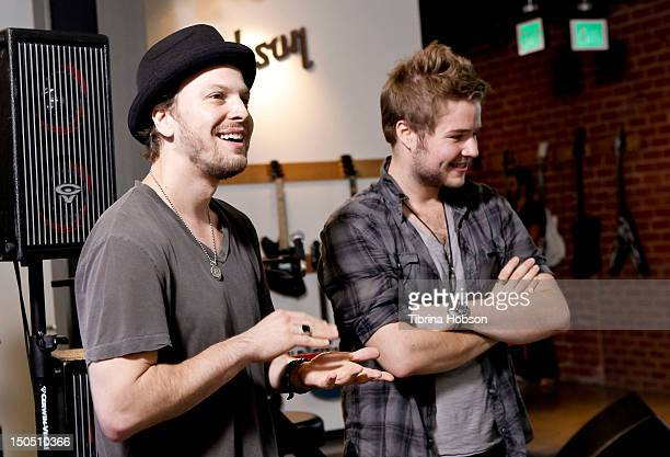 Musicians Gavin DeGraw and Billy Norris attends Microsoft's 'Shape The Future Program' to benefit VH1 'Save The Music' at Gibson Guitar Entertainment...