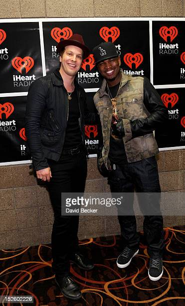 Musicians Gavin Degraw and NeYo pose in the Elvis Duran Broadcast Room during the 2012 iHeartRadio Music Festival at the MGM Grand Garden Arena on...