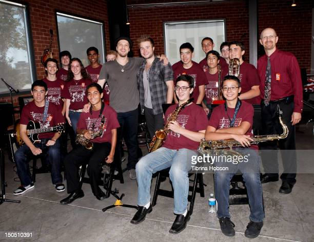 Musicians Gavin DeGraw Billy Norris and the students of the Sherman Oaks Center for Enriched Studies attend Microsoft's 'Shape The Future Program' to...