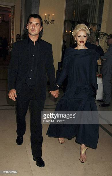Musicians Gavin Rossdale and wife Gwen Stefani attend the opening night of Jay Jopling's new White Cube Gallery in Mason's Yard followed by party at...
