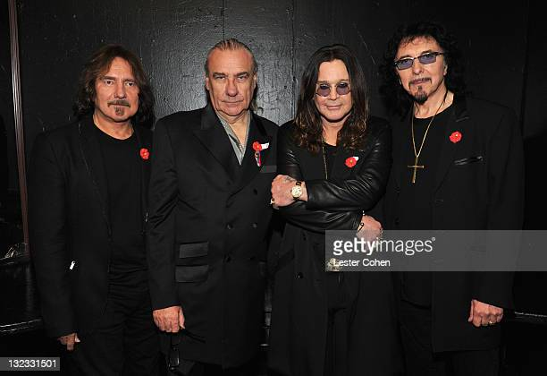 Musicians Geezer Butler Bill Ward Ozzy Osbourne and Tony Iommi pose backstage during Black Sabbath Reunion Press Conference at The Whisky a Go Go on...