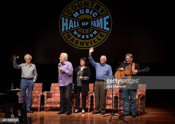 Musicians Gene Lorenzo Kenny Rogers Mary Arnold Miller Mike Settle and Terry Williams speak during a panel discussion with Kenny Rogers and the First...