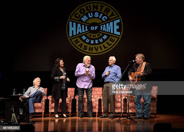 Musicians Gene Lorenzo Mary Arnold Miller Kenny Rogers Mike Settle and Terry Williams speak during a panel discussion with Kenny Rogers and the First...