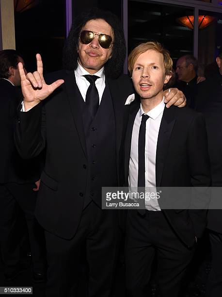 Musicians Gene Simmons and Beck attend the 2016 PreGRAMMY Gala and Salute to Industry Icons honoring Irving Azoff at The Beverly Hilton Hotel on...