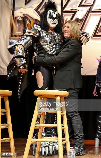 Musicians Gene Simmons and Joe Elliott appear at a press conference to announce the KISS and Def Leppard '2014 Heroes Tour' at House of Blues on...