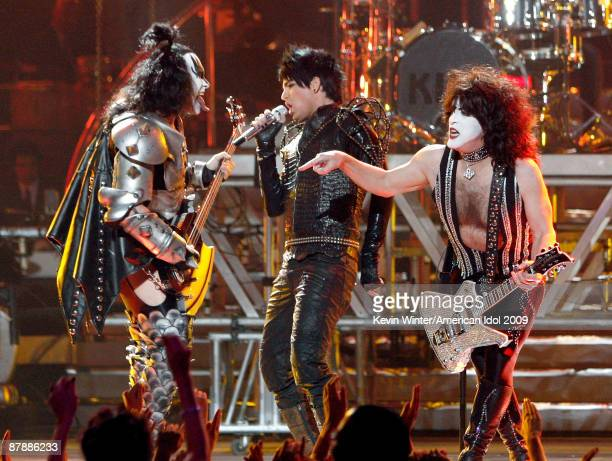 Musicians Gene Simmons and Paul Stanley of KISS perform with finalist Adam Lambert during the American Idol Season 8 Grand Finale held at Nokia...