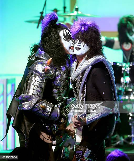 Musicians Gene Simmons and Tommy Thayer of KISS perform onstage during the 23rd Annual Race To Erase MS Gala at The Beverly Hilton Hotel on April 15...