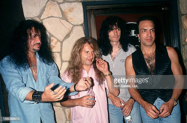 Musicians Gene Simmons Eric Singer Bruce Kulick and Paul Stanley of Kiss attending 44th Birthday Party for Gene Simmons on August 29 1993 at the...