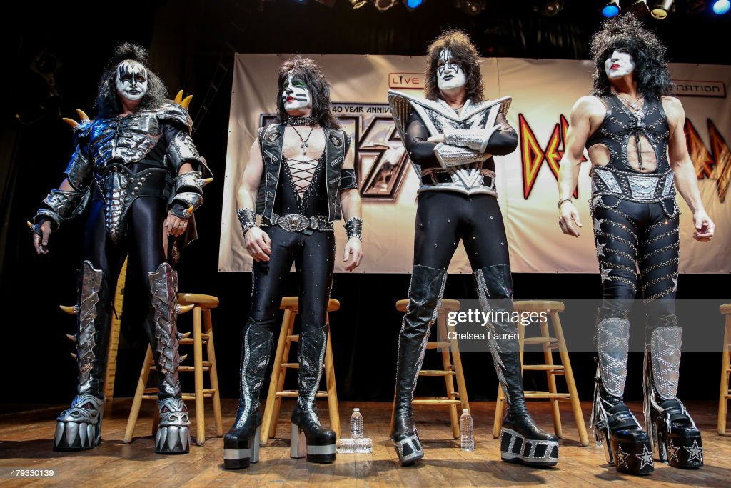 Musicians Gene Simmons, Eric Singer, Tommy Thayer and Paul Stanley of KISS appear at a press conference to announce the KISS and Def Leppard '2014 Heroes Tour' at House of Blues on March 17, 2014 in West Hollywood, California.
