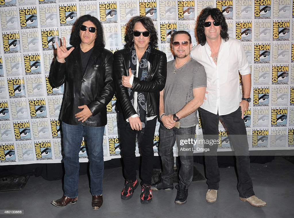Musicians Gene Simmons, Paul Stanley, Eric Singer, and Tommy Thayer of KISS attend the world premiere of 'Scooby-Doo! and