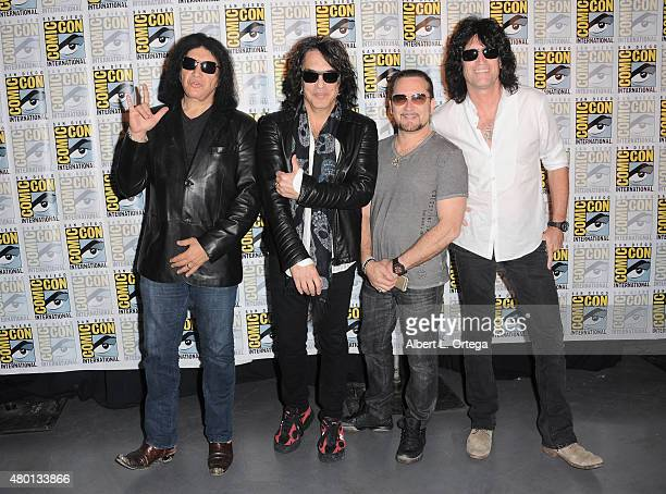 Musicians Gene Simmons Paul Stanley Eric Singer and Tommy Thayer of KISS attend the world premiere of 'ScoobyDoo and KISS Rock and Roll Mystery'...