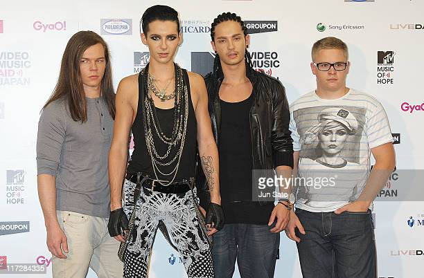 Musicians Georg Listing Bill Kaulitz Tom Kaulitz and Gustav Schafer of rock group Tokio Hotel pose for a photograpgh at a presscall at MTV Video...