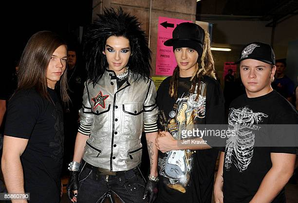 Musicians George Listin Bill Kaulitz Tom Kaulitz and Gustav Schaefer of the band Tokio Hotel pose backstage at the 7th Annual Los Premios MTV Latin...