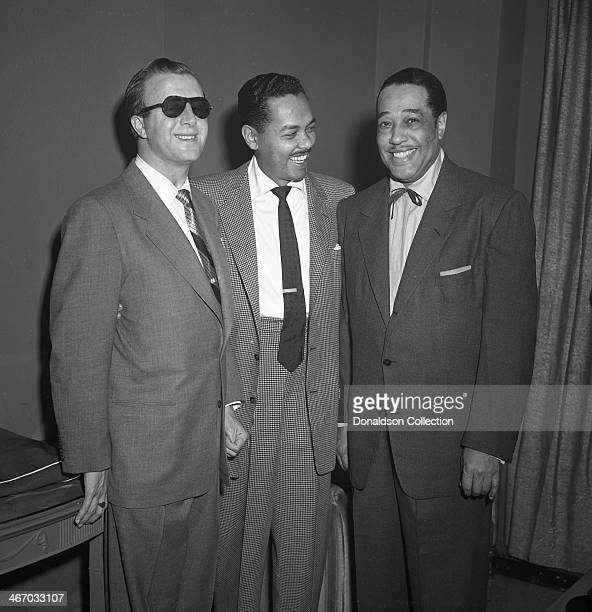 Musicians George Shearing, Billy Eckstine and Duke Ellington pose for a portrait backstage of a concert at Carnegie Hall on December 1, 1951 in New...