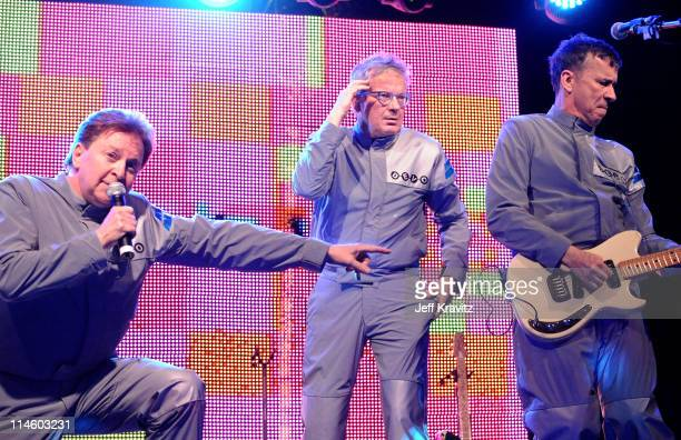Musicians Gerald Casale Mark Mothersbaugh and Bob Mothersbaugh of Devo perform during Day 2 of the Coachella Valley Music Art Festival 2010 held at...