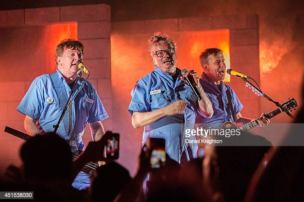 Musicians Gerald Casale Mark Mothersbaugh and Bob Mothersbaugh perform on stage with Devo at Belly Up Tavern on June 30 2014 in Solana Beach...