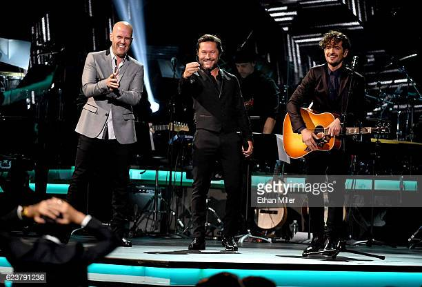 Musicians Gian Marco Diego Torres and Tommy Torres perform onstage during the 2016 Person of the Year honoring Marc Anthony at MGM Grand Garden Arena...
