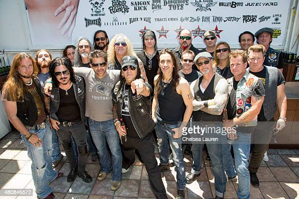 Musicians Gilby Clarke Riki Rachtman Taime Downe and Nuno Bettencourt attend the Cathouse Live press event at Rainbow Bar Grill on July 15 2015 in...