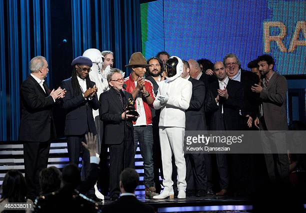 Musicians Giorgio Moroder Nile Rodgers Thomas Bangalter of Daft Punk Paul Williams Pharrell Williams and GuyManuel De HomemChristo of Daft Punk and...