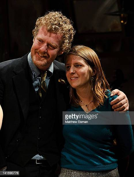 Musicians Glen Hansard and Marketa Irglova and cast take the opening night curtain call for Once Broadway premiere at The Bernard B Jacobs Theatre on...