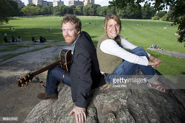 Musicians Glen Hansard and Marketa Irglova of the band Swell Season pose for a portrait in Central Park's Sheep Meadow in New York City on September...