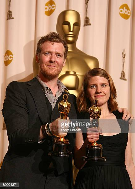 Musicians Glen Hansard and Marketa Irglova pose in the press room during the 80th Annual Academy Awards at the Kodak Theatre on February 24 2008 in...