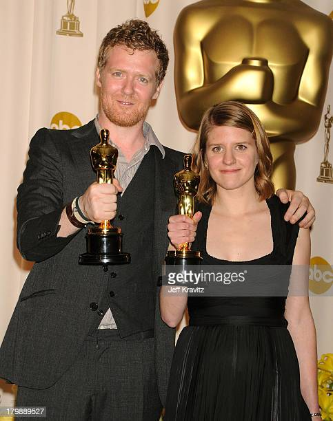 Musicians Glen Hansard and Marketa Irglova poses in the press room during the 80th Annual Academy Awards at the Kodak Theatre on February 24 2008 in...