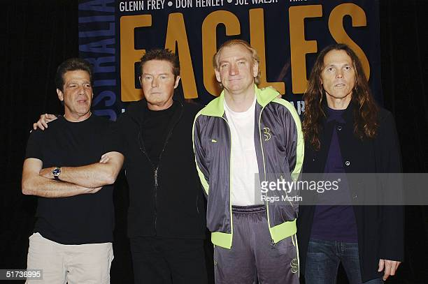 Musicians Glenn Frey Don Henley Joe Walsh and Timothy B Schmit from the band Eagles at a press conference about the Eagles Farewell tour at the Park...