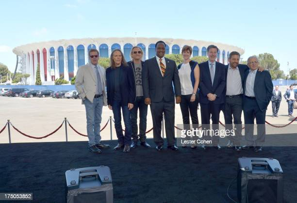 Musicians Glenn Frey Timothy B Schmit Joe Walsh of The Eagles Mayor of Inglewood James T Butts Jr Melissa Ormond President MSG Entertainment The...