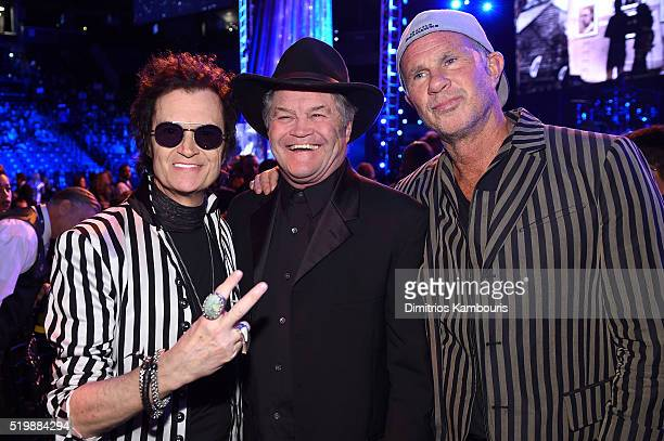 Musicians Glenn Hughes Mickey Dolenz and Chad Smith attend the 31st Annual Rock And Roll Hall Of Fame Induction Ceremony at Barclays Center of...