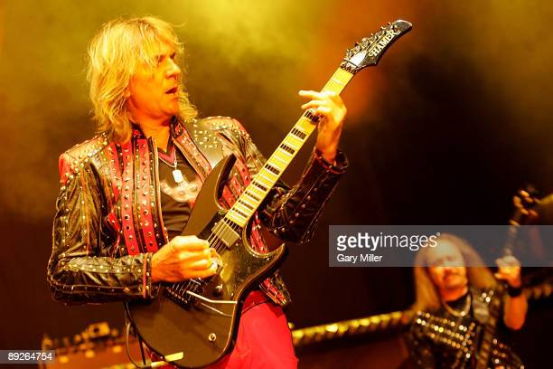 Musicians Glenn Tipton and Ian Hill of Judas Priest perform in concert at the ATT Center on July 25 2009 in San Antonio Texas