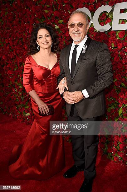 Musicians Gloria Estefan and Emilio Estefan attend the 70th Annual Tony Awards at The Beacon Theatre on June 12 2016 in New York City