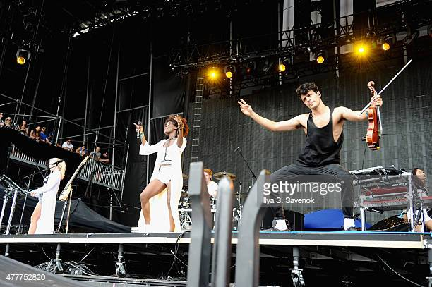 Musicians Grace Chatto and Milan Neil Amin-Smith of Clean Bandit, perform with musician Elisabeth Troy , onstage during day 2 of the Firefly Music...