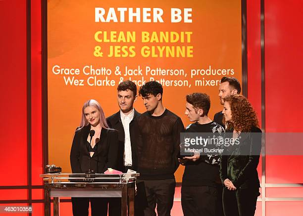 Musicians Grace Chatto Jack Patterson Milan Neil AminSmith Luke Patterson of Clean Bandit musical artist Wez Clarke and singer Jess Glynne accept the...