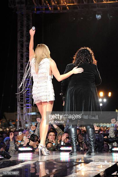 Musicians Grace Potter and Ann Wilson of Heart perform onstage during 'VH1 Divas Salute the Troops' presented by the USO at the MCAS Miramar on...