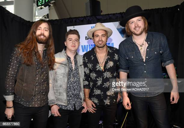Musicians Graham DeLoach Bill Satcher Zach Brown and Michael Hobby of A Thousand Horses attend the 52nd Academy Of Country Music Awards...