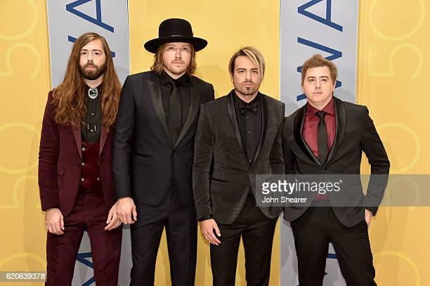 Musicians Graham DeLoach Michael Hobby Zach Brown and Bill Satcher of A Thousand Horses attend the 50th annual CMA Awards at the Bridgestone Arena on...