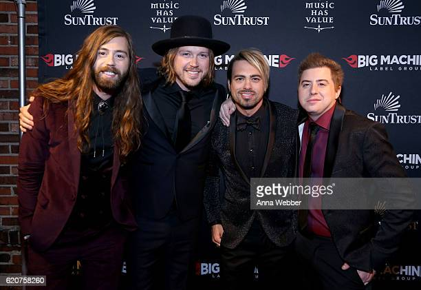 Musicians Graham DeLoach Michael Hobby Zach Brown and Bill Satcher of A Thousand Horses attend the Big Machine Label Group's celebration of the 50th...