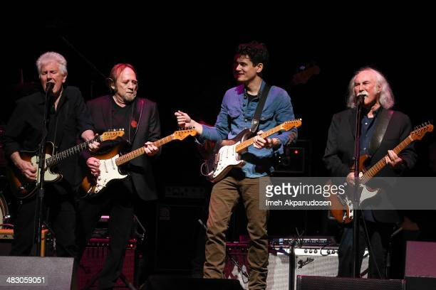 Musicians Graham Nash Stephen Stills John Mayer and David Crosby perform onstage at the 2nd Light Up The Blues Concert An Evening Of Music To Benefit...