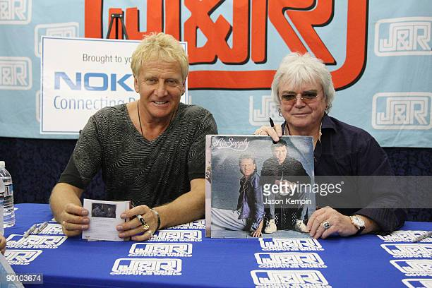 Musicians Graham Russell and Russell Hitchcock of Air Supply attend the 2009 JR MusicFest at JR Music and Computer World on August 26 2009 in New...