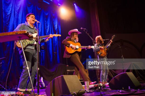 Musicians Grant Gustafson, Jonathan Childers and Taylor Zachry of Blank Range perform at The Neptune Theatre on February 25, 2018 in Seattle,...