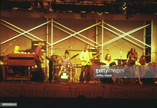 Musicians Gregg Allman Duane Allman Dickey Betts Jai Johanny 'Jaimoe' Johanson Berry Oakley and Butch Trucks live in concert with the Allman Brothers...